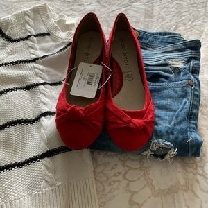 NWT red suede flats from Goldtoe